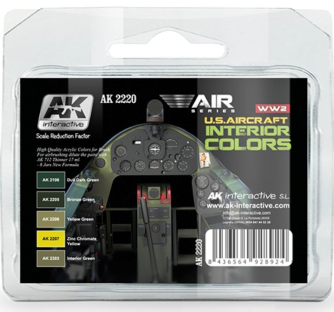 AK Interactive WW2 U.S. Aircraft Interior Colors Paint Set