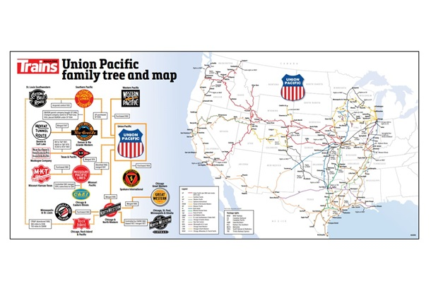 Union Pacific Railroad Map and Family Tree Poster
