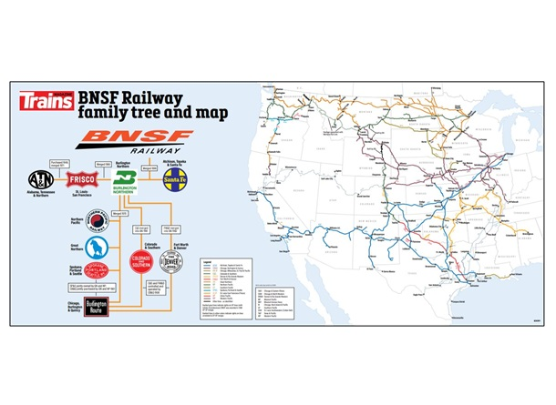BNSF Railroad Map and Family Tree Poster