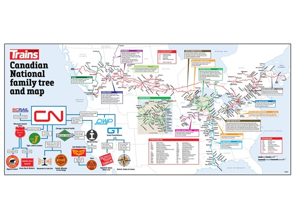 Canadian National Railroad Map and Family Tree Poster
